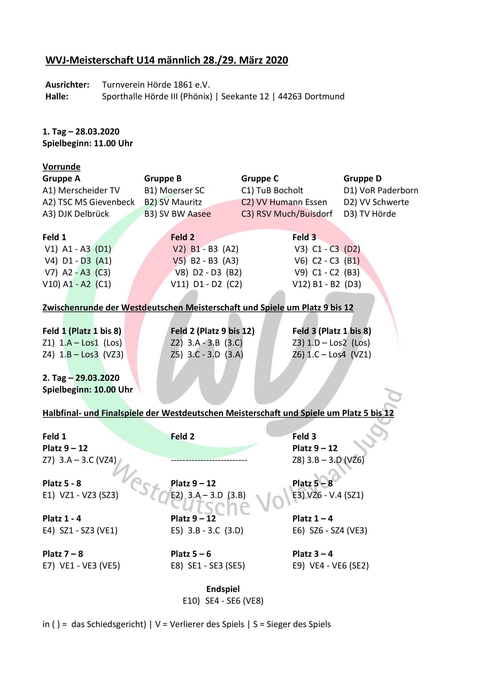 WDM U14 Spielplan 2020