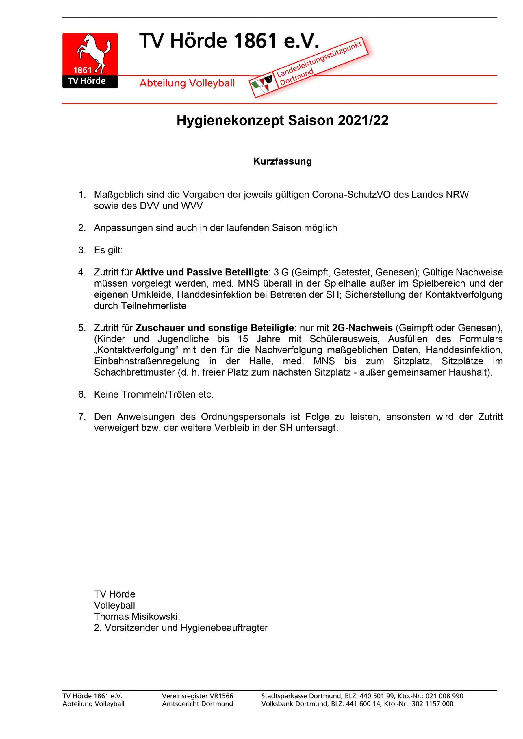 Hygienekonzept Saison 2021-22-WVV-Ligen